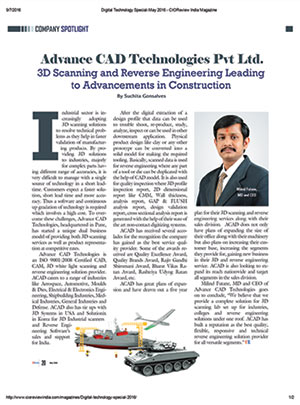 ACAD Technologies in CIO Review India Article